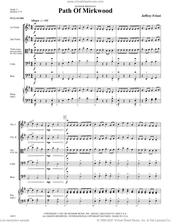 Path Of Mirkwood (COMPLETE) sheet music for orchestra by Jeff Frizzi, intermediate skill level