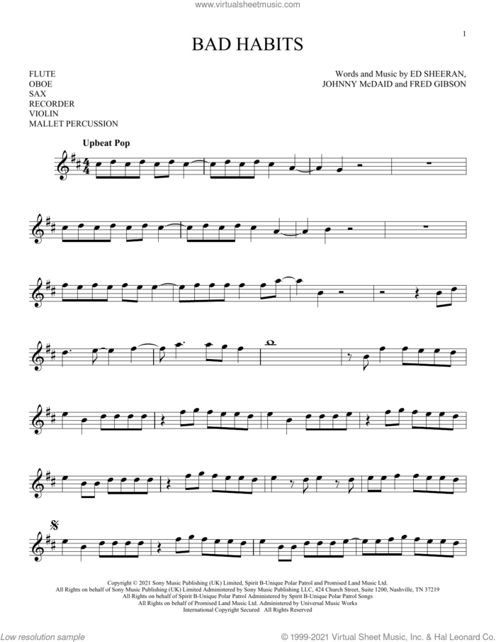 Bad Habits sheet music for Solo Instrument (treble clef high) by Ed Sheeran, Fred Gibson and Johnny McDaid, intermediate skill level