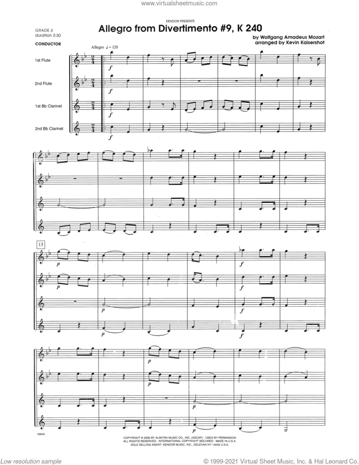 Allegro from Divertimento #9, K 240 (arr. Kevin Kaisershot) (COMPLETE) sheet music for wind ensemble by Wolfgang Amadeus Mozart and Kevin Kaisershot, classical score, intermediate skill level