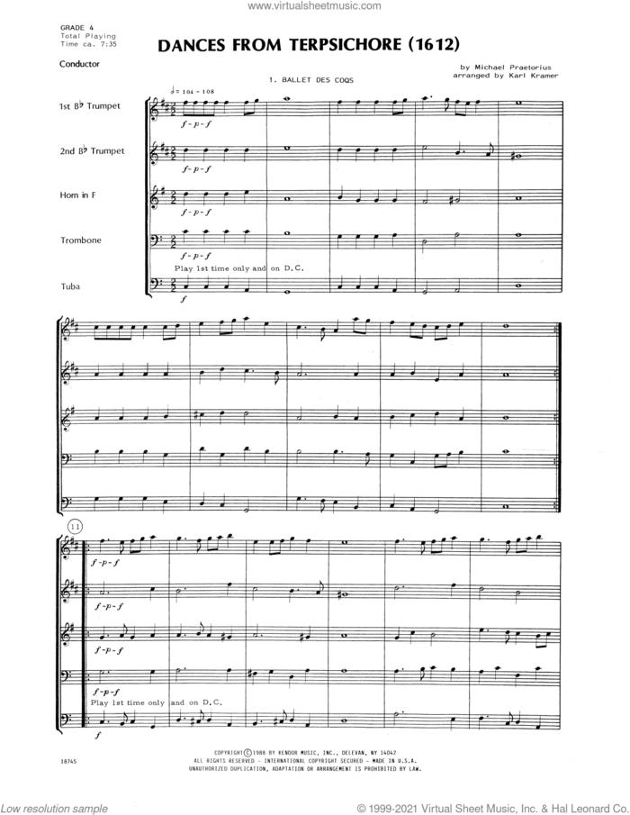 Dances From Terpsichore (1612) (arr. Karl Kramer) (COMPLETE) sheet music for brass quintet by Michael Praetorius and Karl Kramer, intermediate skill level
