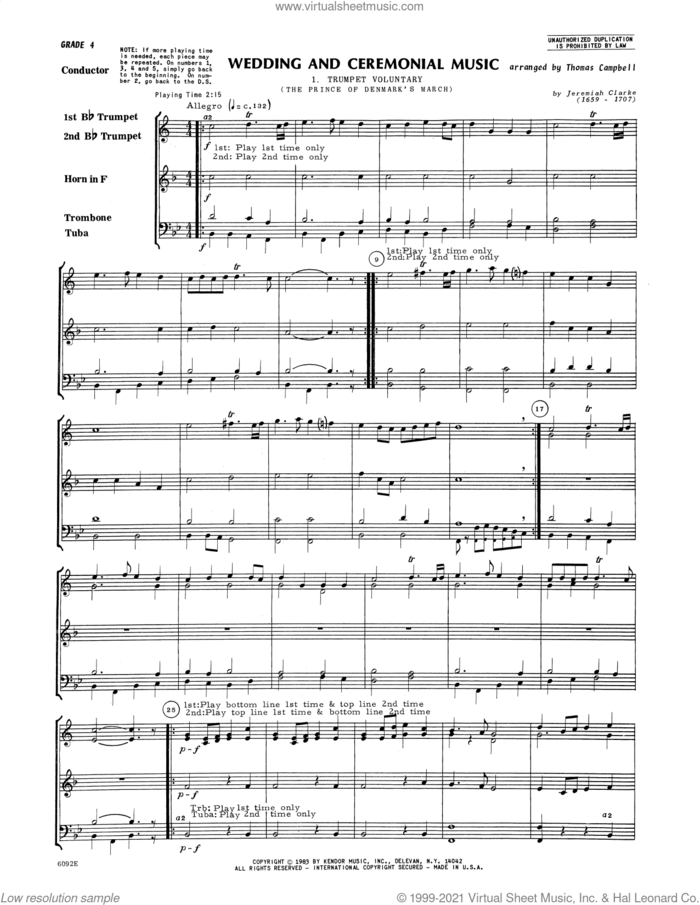 Wedding And Ceremonial Music (COMPLETE) sheet music for brass quintet by Thomas Campbell and Miscellaneous, wedding score, intermediate skill level