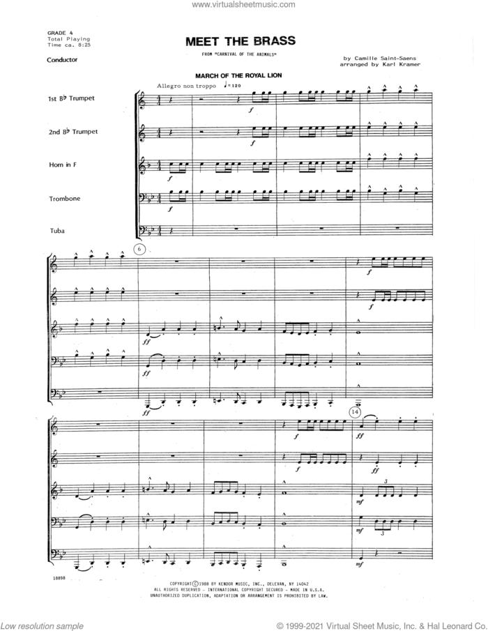 Meet The Brass (from Carnival Of The Animals) (arr. Karl Kramer) (COMPLETE) sheet music for brass quintet by Camille Saint-Saens and Karl Kramer, classical score, intermediate skill level