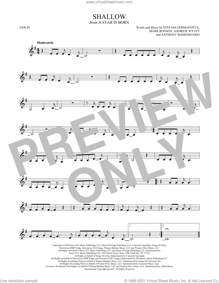 Shallow (from A Star Is Born) sheet music for violin solo by Lady Gaga & Bradley Cooper, Andrew Wyatt, Anthony Rossomando, Lady Gaga and Mark Ronson, intermediate skill level