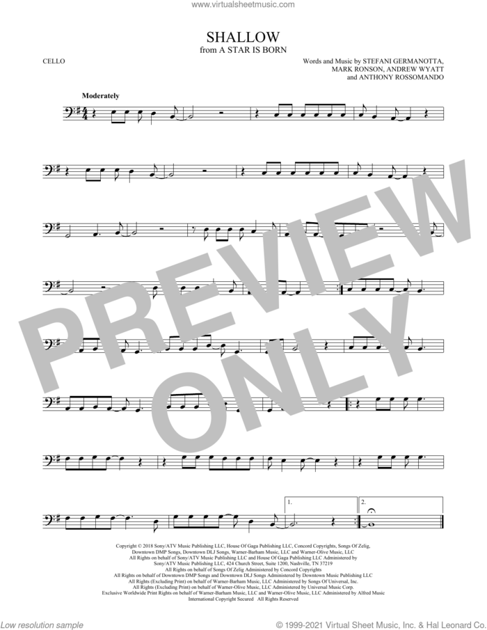 Shallow (from A Star Is Born) sheet music for cello solo by Lady Gaga & Bradley Cooper, Andrew Wyatt, Anthony Rossomando, Lady Gaga and Mark Ronson, intermediate skill level