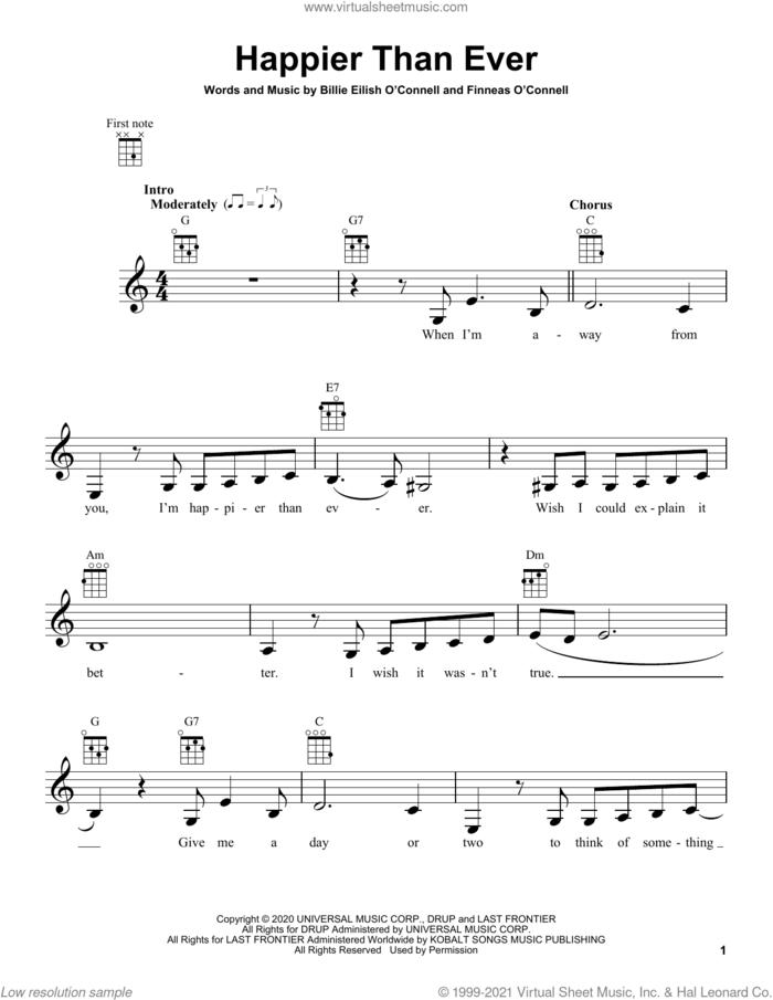 Happier Than Ever sheet music for ukulele by Billie Eilish, intermediate skill level