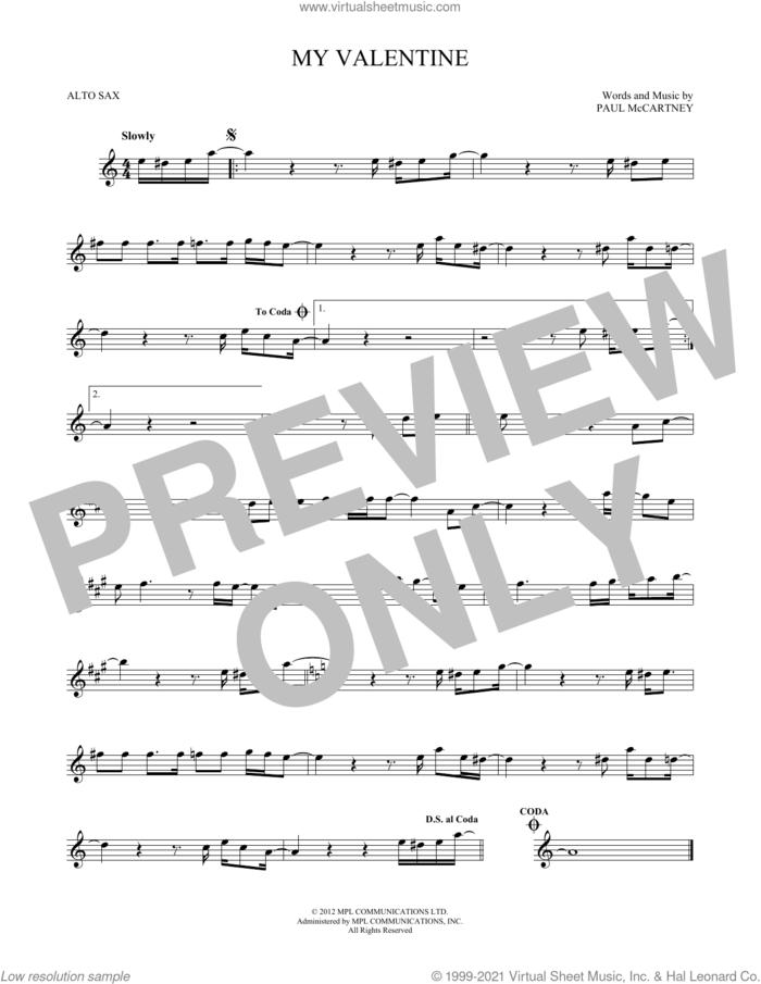 My Valentine sheet music for alto saxophone solo by Paul McCartney, wedding score, intermediate skill level