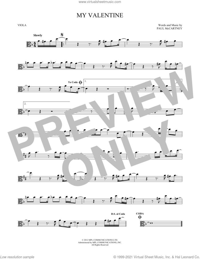 My Valentine sheet music for viola solo by Paul McCartney, wedding score, intermediate skill level