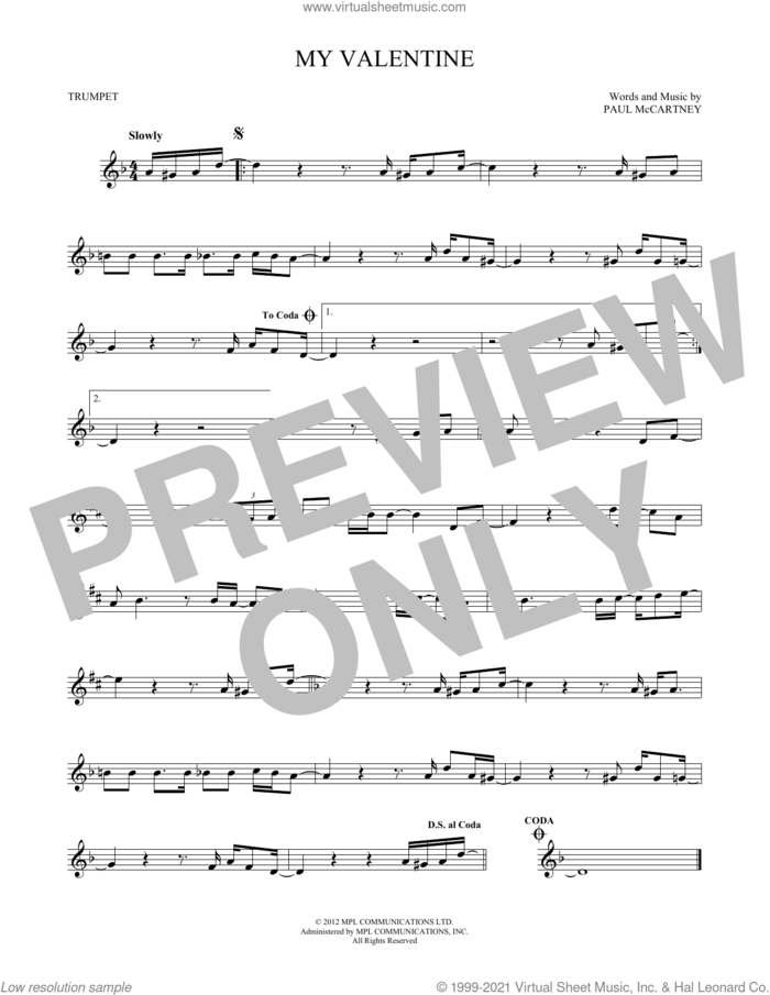 My Valentine sheet music for trumpet solo by Paul McCartney, wedding score, intermediate skill level