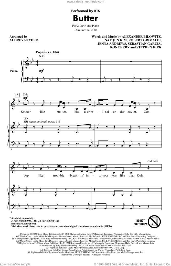 Butter (arr. Audrey Snyder) sheet music for choir (2-Part) by BTS, Audrey Snyder, Alexander Joshua Bilowitz, Jenna Andrews, Namjun Kim, Robert Grimaldi, Ron Perry, Sebastian Garcia and Stephen Kirk, intermediate duet