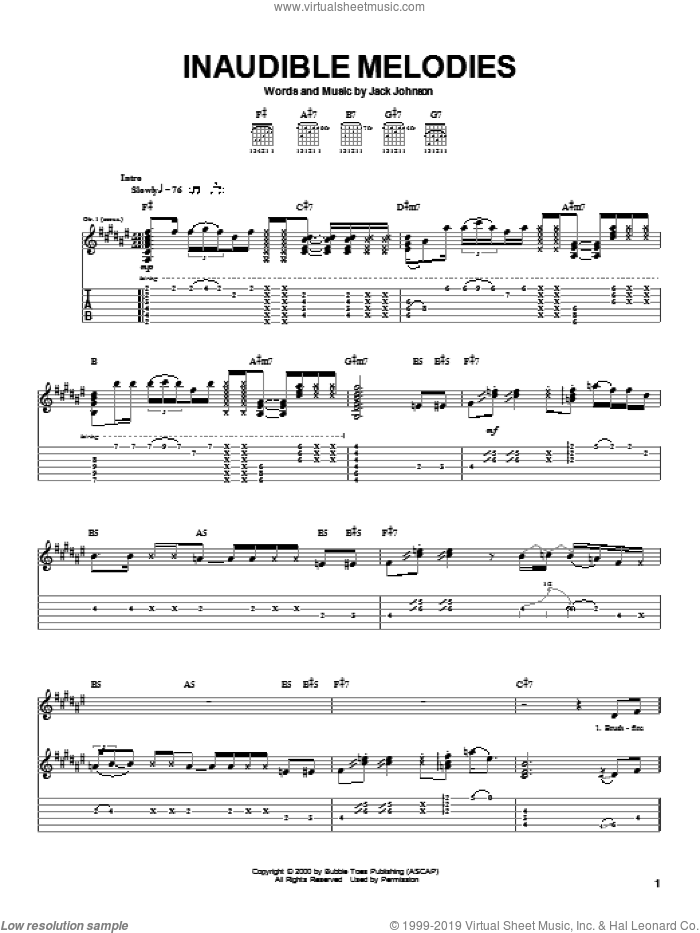Inaudible Melodies sheet music for guitar (tablature) by Jack Johnson, intermediate skill level