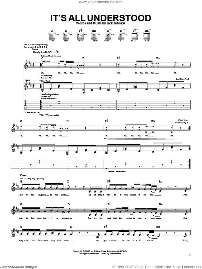 It's All Understood sheet music for guitar (tablature) by Jack Johnson, intermediate skill level
