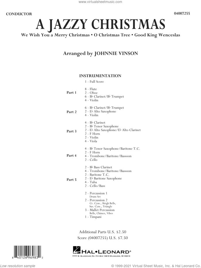 A Jazzy Christmas (COMPLETE) sheet music for concert band by Johnnie Vinson and Miscellaneous, intermediate skill level