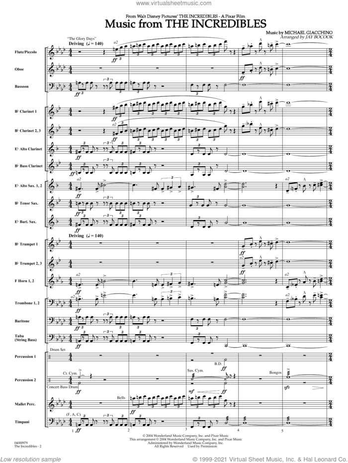 Music from The Incredibles (arr. Jay Bocook) (COMPLETE) sheet music for concert band by Michael Giacchino and Jay Bocook, intermediate skill level