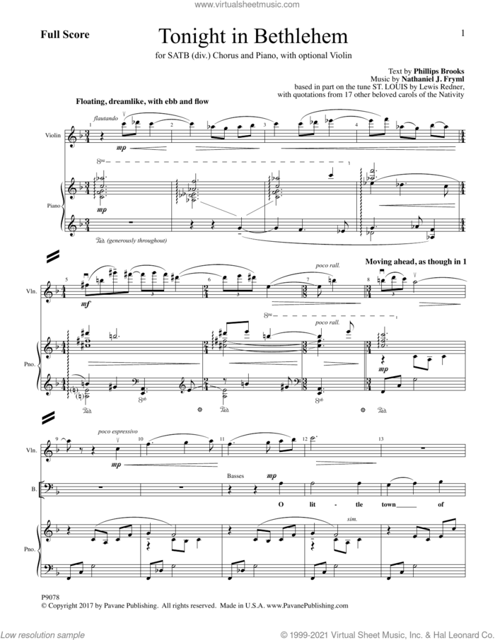 Tonight in Bethlehem (COMPLETE) sheet music for orchestra/band by Phillips Brooks and Nathaniel J. Fryml, intermediate skill level