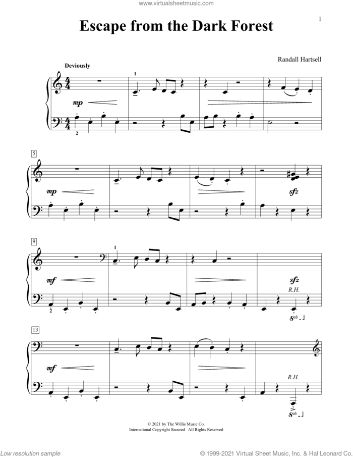 Escape From The Dark Forest sheet music for piano solo (elementary) by Randall Hartsell, beginner piano (elementary)