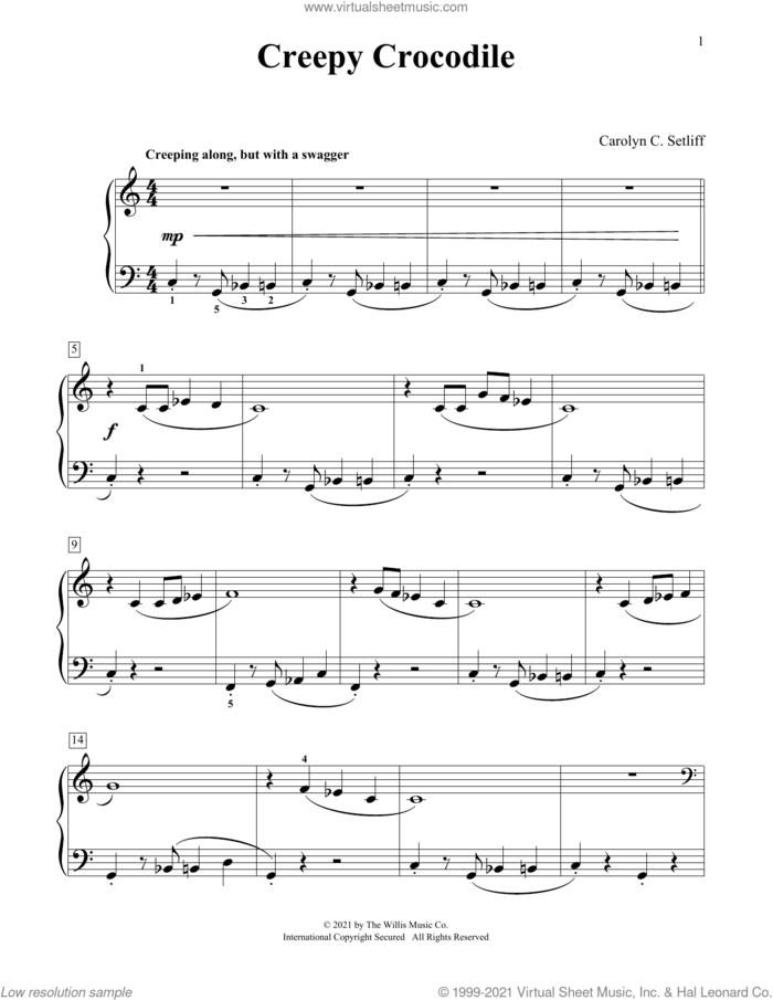 Creepy Crocodile sheet music for piano solo (elementary) by Carolyn C. Setliff, beginner piano (elementary)