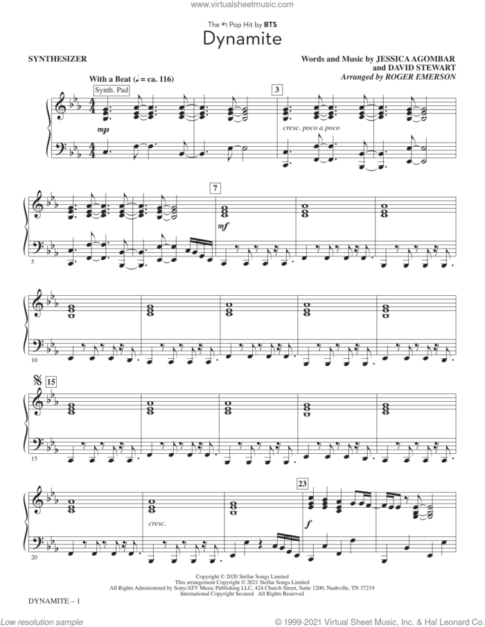 Dynamite (arr. Roger Emerson) (complete set of parts) sheet music for orchestra/band by BTS, Dave Stewart, Jessica Agombar and Roger Emerson, intermediate skill level