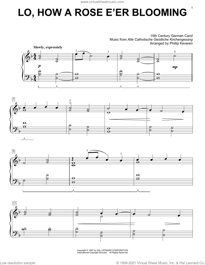 Lo, How A Rose E'er Blooming (arr. Phillip Keveren) sheet music for voice and other instruments (E-Z Play) by Alte Catholische Geistliche Ki, Phillip Keveren, 15th Century German Carol and Theodore Baker, easy skill level