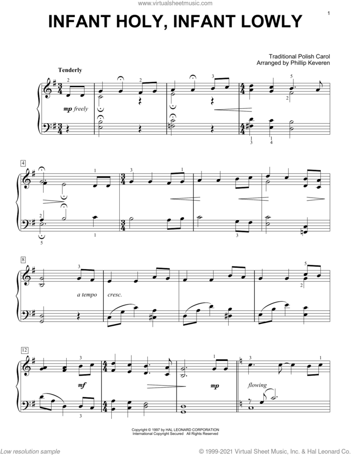 Infant Holy, Infant Lowly (arr. Phillip Keveren) sheet music for voice and other instruments (E-Z Play) by Edith M.G. Reed, Phillip Keveren and Miscellaneous, easy skill level