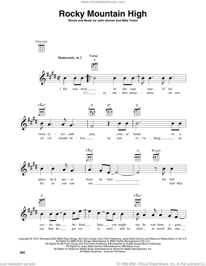 Rocky Mountain High sheet music for baritone ukulele solo by John Denver and Mike Taylor, intermediate skill level