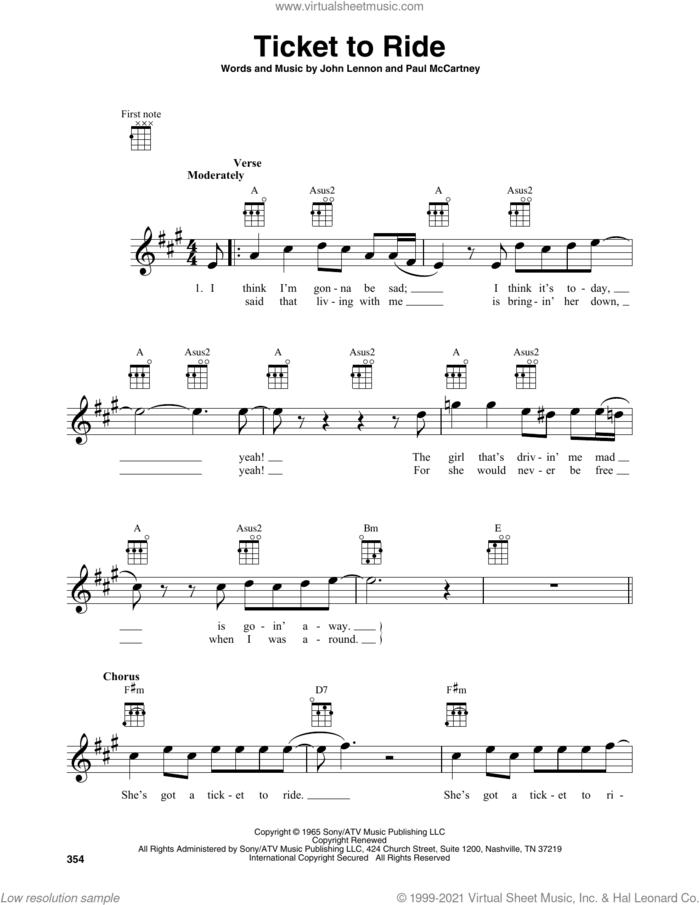 Ticket To Ride sheet music for baritone ukulele solo by The Beatles, Carpenters, John Lennon and Paul McCartney, intermediate skill level