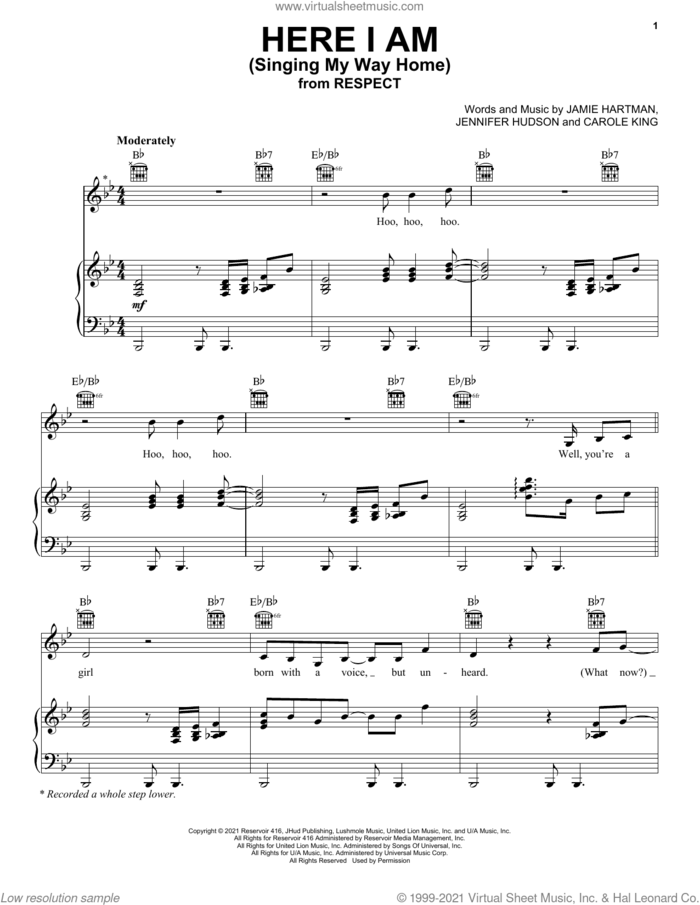 Here I Am (Singing My Way Home) (from Respect) sheet music for voice, piano or guitar by Jennifer Hudson, Carole King and Jamie Hartman, intermediate skill level