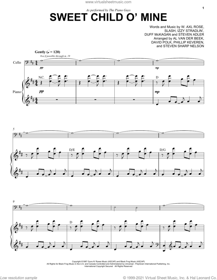 Sweet Child O' Mine sheet music for cello and piano by The Piano Guys, Axl Rose, Duff McKagan, Slash and Steven Adler, intermediate skill level