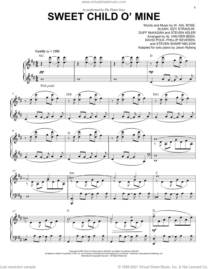 Sweet Child O' Mine sheet music for piano solo by The Piano Guys, Axl Rose, Duff McKagan, Slash and Steven Adler, intermediate skill level