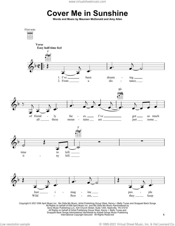 Cover Me In Sunshine sheet music for ukulele by P!nk & Willow Sage Hart, Amy Allen and Maureen McDonald, intermediate skill level