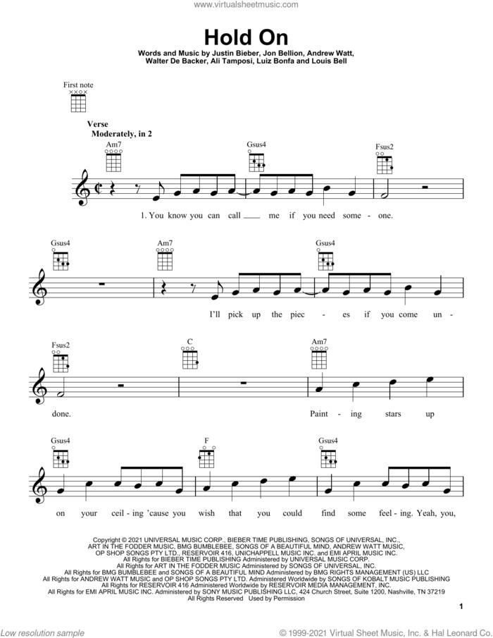 Hold On sheet music for ukulele by Justin Bieber, Ali Tamposi, Andrew Watt, Jon Bellion, Louis Bell, Luiz Bonfa and Walter De Backer, intermediate skill level