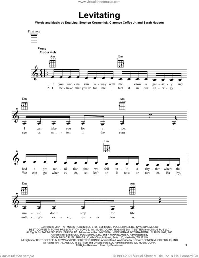 Levitating sheet music for ukulele by Dua Lipa, Clarence Coffee Jr., Sarah Hudson and Stephen Kozmeniuk, intermediate skill level