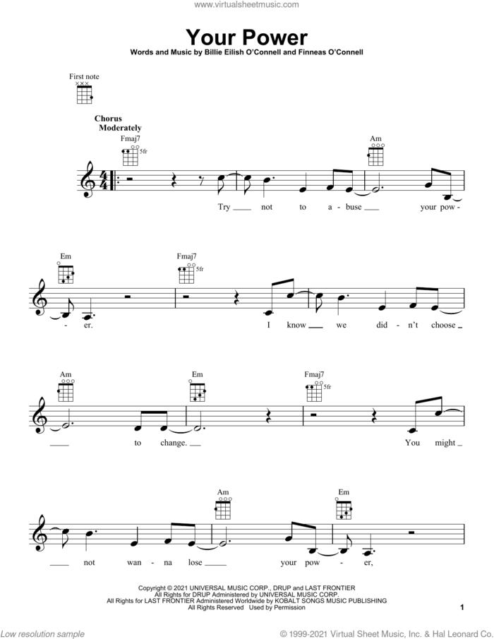Your Power sheet music for ukulele by Billie Eilish, intermediate skill level