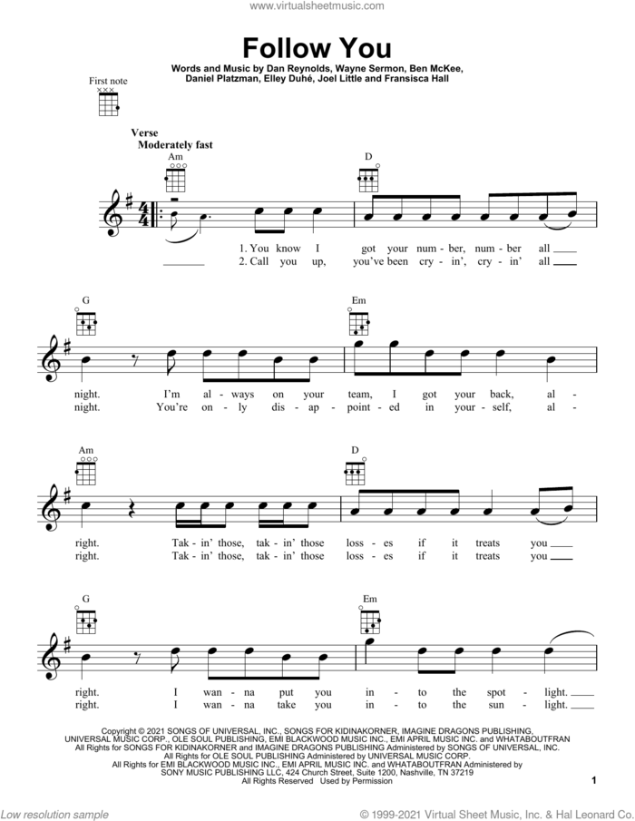 Follow You sheet music for ukulele by Imagine Dragons, Ben McKee, Dan Reynolds, Daniel Platzman, Elley Duhe, Fransisca Hall, Joel Little and Wayne Sermon, intermediate skill level