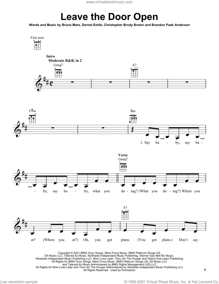 Leave The Door Open sheet music for ukulele by Silk Sonic, Brandon Paak Anderson, Bruno Mars, Christopher Brody Brown and Dernst Emile, intermediate skill level