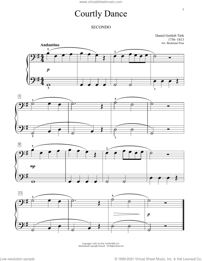 Courtly Dance sheet music for piano four hands by Daniel Gottlob Turk, Bradley Beckman and Carolyn True, classical score, intermediate skill level
