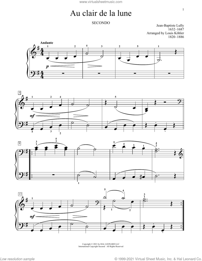 Au Clair De La Lune sheet music for piano four hands by Jean-Baptiste Lully, Bradley Beckman and Carolyn True, classical score, intermediate skill level