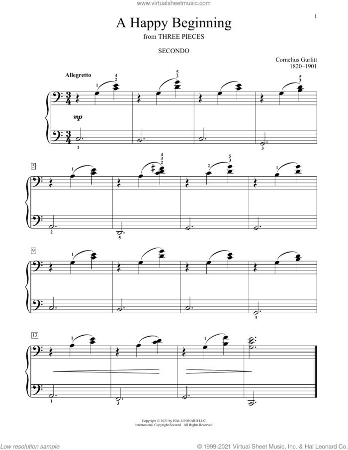 A Happy Beginning sheet music for piano four hands by Cornelius Gurlitt, Bradley Beckman and Carolyn True, classical score, intermediate skill level