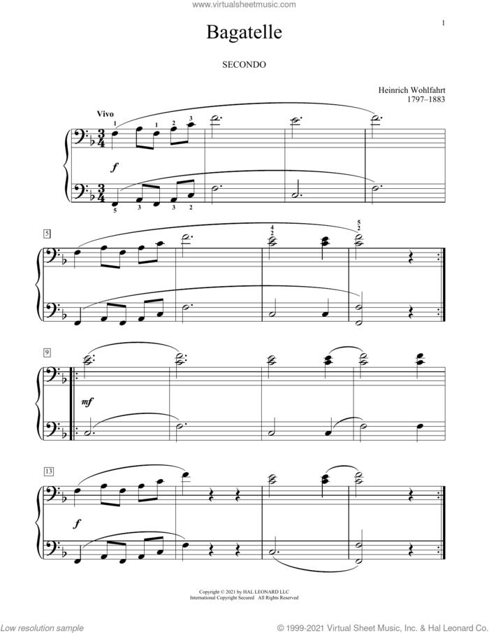 Bagatelle sheet music for piano four hands by Franz Wohlfarht, Bradley Beckman and Carolyn True, classical score, intermediate skill level