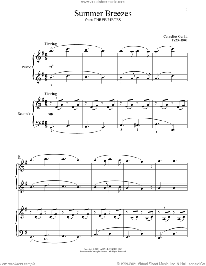 Summer Breezes (From Three Pieces) sheet music for piano four hands by Cornelius Gurlitt, Bradley Beckman and Carolyn True, classical score, intermediate skill level