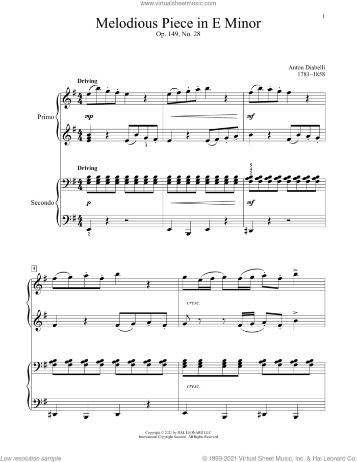 Melodious Piece In E Minor, Op. 149, No. 28 sheet music for piano four hands by Antonio Diabelli, Bradley Beckman and Carolyn True, classical score, intermediate skill level