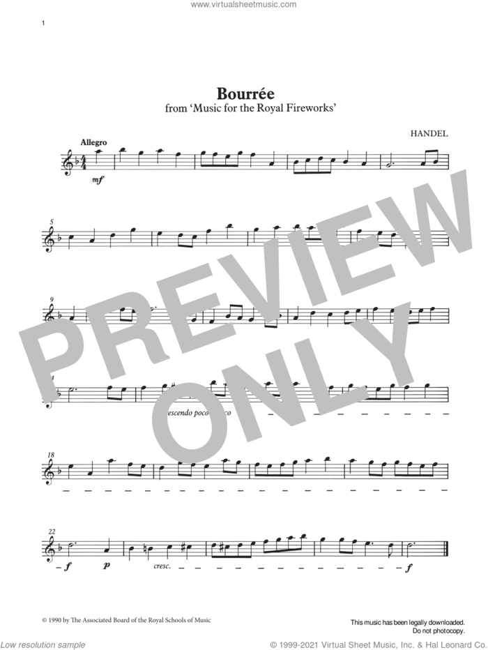 Bourrée from Graded Music for Tuned Percussion, Book I sheet music for percussions by George Frideric Handel, Ian Wright and Kevin Hathway, classical score, intermediate skill level