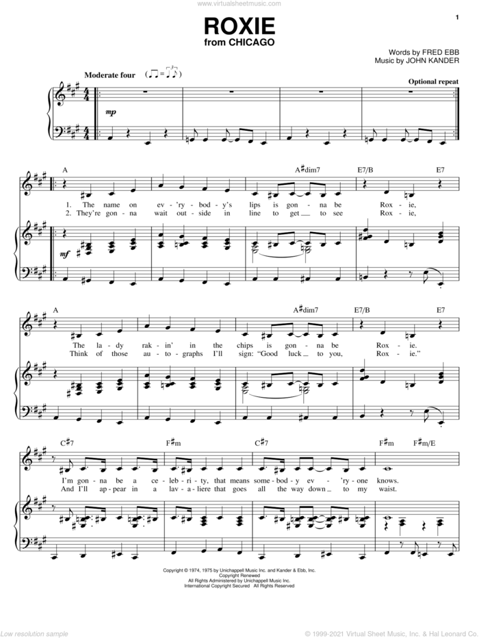 Roxie sheet music for voice and piano by Kander & Ebb, Chicago (Musical), Fred Ebb and John Kander, intermediate skill level