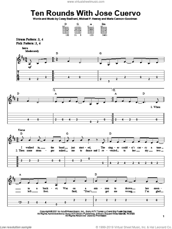 Ten Rounds With Jose Cuervo sheet music for guitar solo (easy tablature) by Tracy Byrd, Casey Beathard, Marla Cannon-Goodman and Michael Heeney, easy guitar (easy tablature)