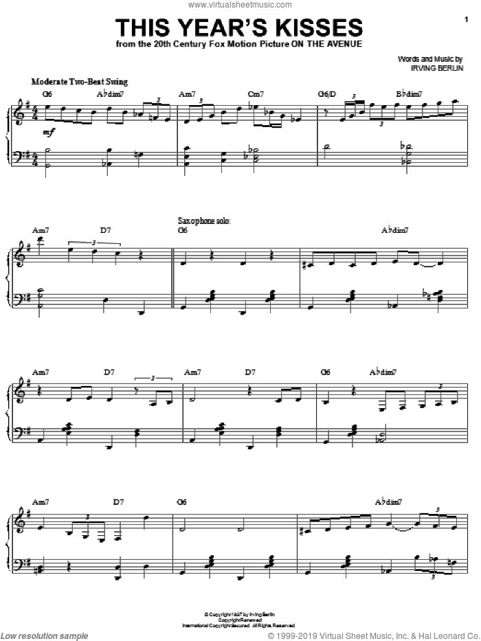 This Year's Kisses sheet music for voice and piano by Billie Holiday and Irving Berlin, intermediate skill level