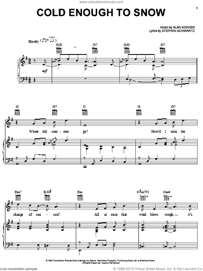 Cold Enough To Snow sheet music for voice, piano or guitar by Stephen Schwartz and Alan Menken, intermediate skill level