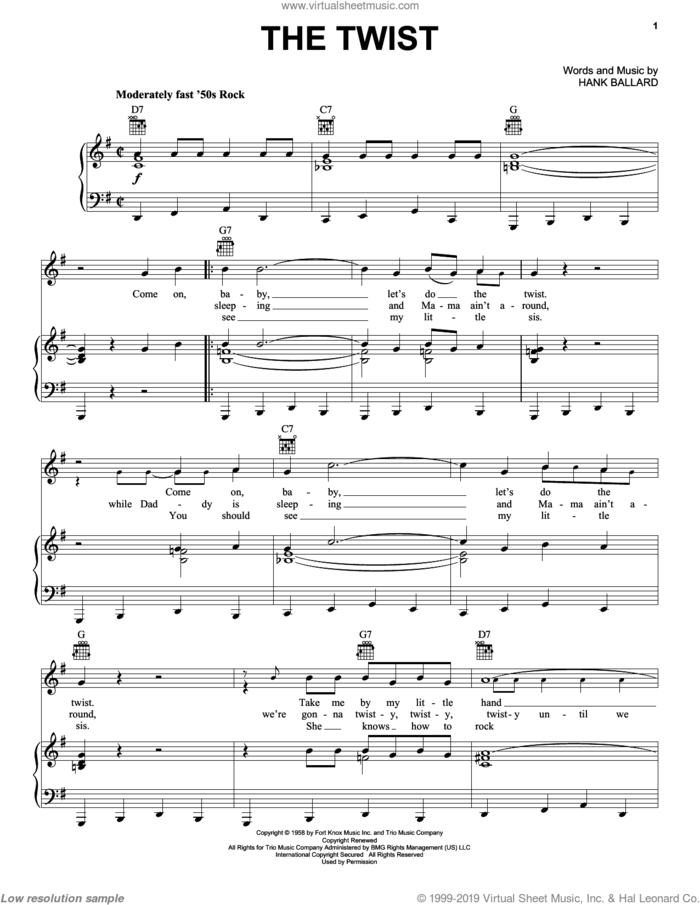 The Twist sheet music for voice, piano or guitar by Chubby Checker and Hank Ballard, intermediate skill level