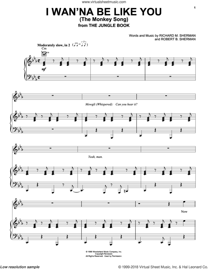 I Wan'na Be Like You (The Monkey Song) (from The Jungle Book) sheet music for voice, piano or guitar by Sherman Brothers, Richard M. Sherman and Robert B. Sherman, intermediate skill level