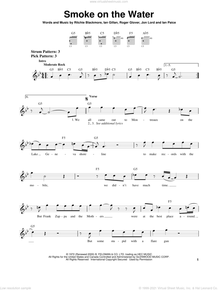 Smoke On The Water sheet music for guitar solo (chords) by Deep Purple, Ian Gillan, Ritchie Blackmore and Roger Glover, easy guitar (chords)