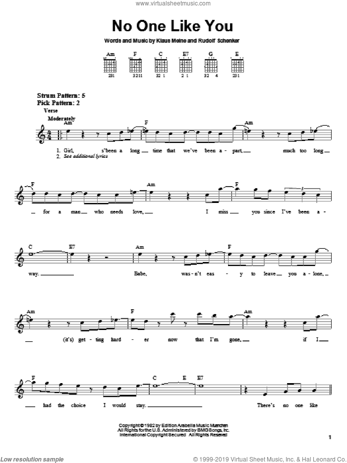 No One Like You sheet music for guitar solo (chords) by Scorpions, Klaus Meine and Rudolf Schenker, easy guitar (chords)