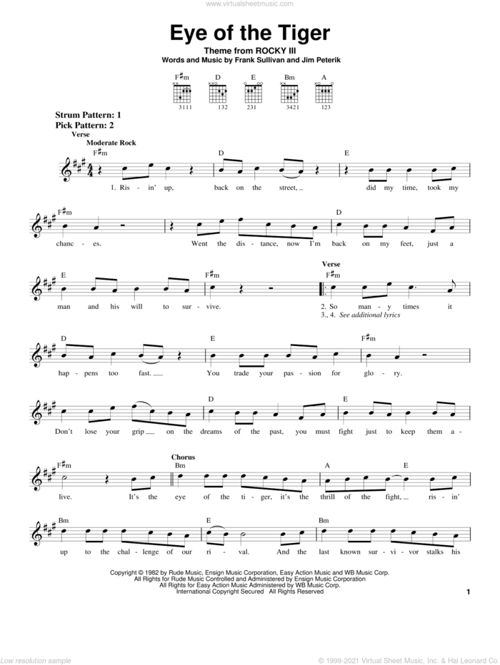 Eye Of The Tiger sheet music for guitar solo (chords) by Survivor, Frank Sullivan and Jim Peterik, easy guitar (chords)